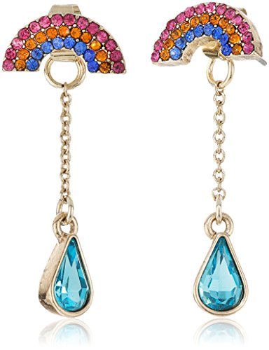 Betsey Johnson Womens Pave Rainbow & Stone Earrings Jacket