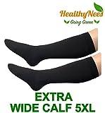 HealthyNees Closed Toe Extra Big Wide Calf Shin Plus Size 20-30 mmHg Compression Grade Leg Length Swelling Circulation Women Men Socks (Black, Extra Wide Calf 5XL)