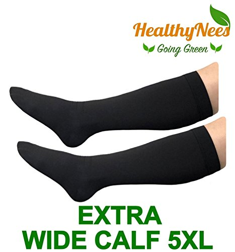 HealthyNees Closed Toe Extra Big Wide Calf Shin Plus Size 20-30 mmHg Compression Grade Leg Length Swelling Circulation Women Men Socks (Black, Extra Wide Calf 5XL) -
