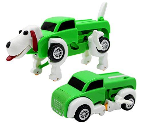 Naovio Kids Transforming Dog Vehicle Trunk Car Clockwork Automatic Wind up Toy Developmental Toy