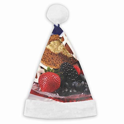 Cake Strawberries Cream Berries Naughty and Nice Plush Red Holiday Christmas Santa Hats