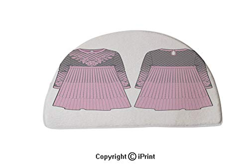 LEFEDZYLJHGO Half Circle Mat for Front Door Inside Floor Dirt Entrance Rug,30x18 inch,Cute Pink Dress with Seam at Waist and Flared Skirt
