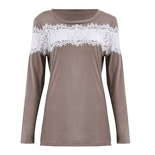 Tops Innerternet Kaki Automne Shirt Dentelle Femmes Sweat Paules Sexy Casual Manches DNudEs Blouse Blouse Longues AA68awqTr
