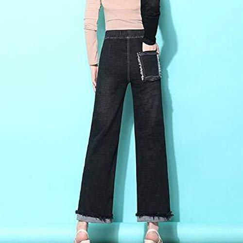 Color Talla para Mujer Skinny Jeans Vaqueros Straight Stretch LIJINJING De Black Pantalones HZqzt