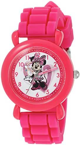 Disney Girl's 'Minnie Mouse' Quartz Plastic and Silicone Casual Watch, Color:Pink (Model: WDS000136)
