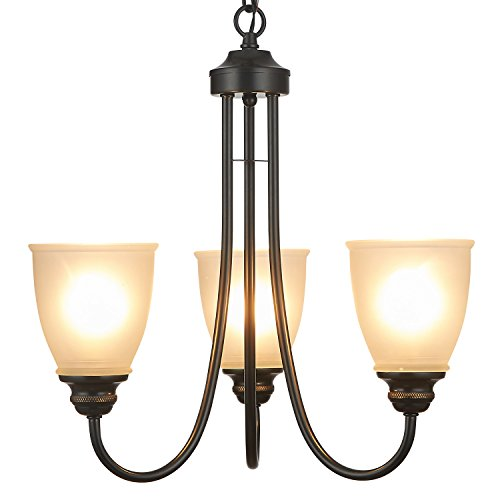 - Doraimi 3/5 Light Chandelier Lighting Traditional Ceiling Light Fixture with Satin Etched Cased Opal Glass Shade for Foyer, Dining Room, Living Room, Family Room (Black, 3 Light)