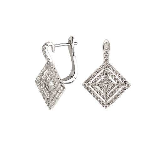 (18k White Gold Square Diamond Earring with 1.08 Cttw Diamonds G-H Color VS2-SI1 Clarity)
