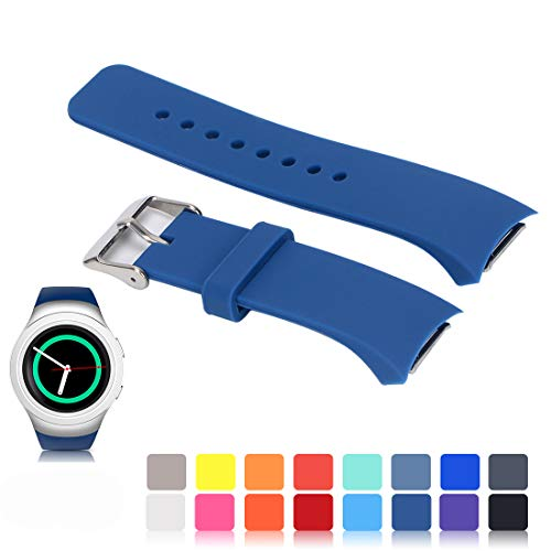 Feskio for Samsung Gear S2 SM-R720/R730 Watch Replacement Band Accessory Small/Large Size Soft Silicone Wristband Strap Smartwatch Sport Band Fit for Samsung Galaxy Gear S2 SM-720/SM-730 Smartwatch