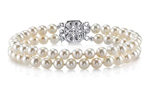 (THE PEARL SOURCE Sterling Silver 7-8mm AAAA Quality Round White Double Freshwater Cultured Pearl Bracelet for)