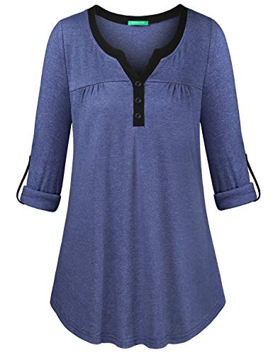 Kimmery Business Casual Clothes for Women, Juniors V Neck Tops with Botton Long Sleeve Loose Hem Pullover Tunic Holiday Jersey Blouses Vintage Outdoor Lightweight Shirts Ink Blue L