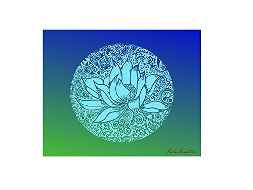 Meditation Series - Throat Chakra Healing Blue Lotus - Unframed 8x10 Art Print Home Study Meditation Room Yoga Studio Birthday Mother's Day Gift Spa Color Therapy Framing Wall Decor Decorations by KalaaWorks - Handmade By Kalaa Kreatika (Image #1)