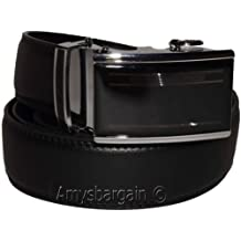 New Men's Black Leather Dress Belt w/ Auto Lock Sliding Buckle, Belt Strap #B650 (38)