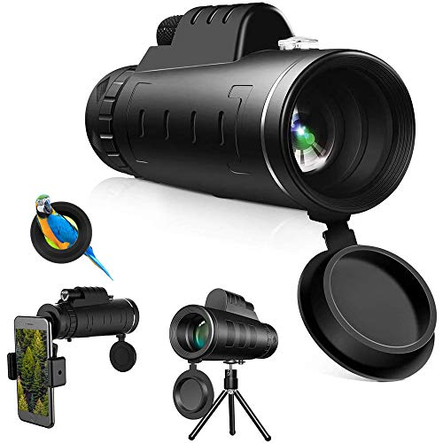 40x60 Monocular Telescope High Power HD Starscope Monocular with Smartphone Holder Tripod for iPhone Android Waterproof Night Vision and Clear Prism Dual Focus, Bird Watching Gifts (2021 Upgrade)