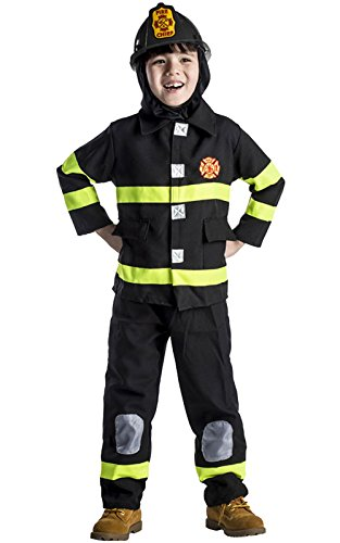 Award Winning Deluxe Fire Fighter Dress up Costume Set and Helmet]()