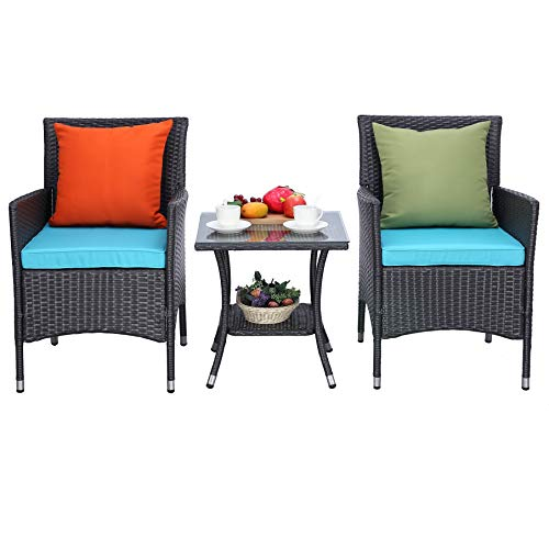 Do4U 3 Pieces Patio Furniture Set Outdoor Wicker Conversation Set Cushioned PE Wicker Bistro Set Rattan Chairs with Coffee Table   Porch, Backyard, Pool Garden