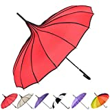Outgeek Umbrella Retro Pagoda Umbrella Parasol Umbrella Sun Umbrella UV Protection Umbrella Retro with Hook Handle For Sale