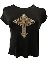 Chocolate Pickle New Womens Cross Studded Stretchy T- shirts