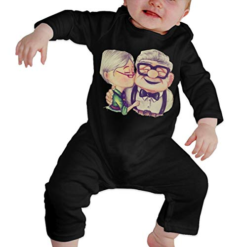 Fasenix Carl and Ellie Newborn Baby Boy Girl Romper Jumpsuit Long Sleeve Bodysuit Overalls Outfits Clothes Black