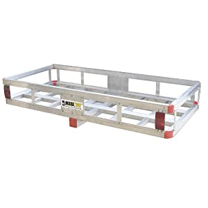 """MaxxHaul 70108 49"""" x 22.5"""" Hitch Mount Aluminum Cargo Carrier With High Side Rails For RV's, Trucks, SUV's, Vans, Cars With 2"""" Hitch Receiver - 500-lb Load Capacity"""