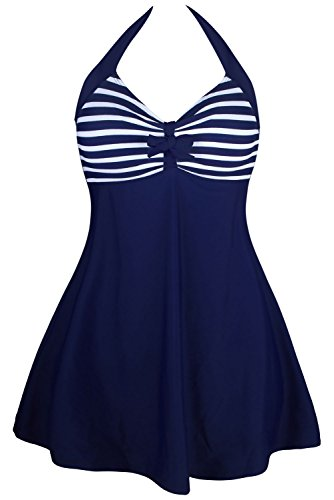 Lalagen Womens Vintage Halter Skirtini Plus Size One Piece Cover Up Swimdress Size XL (Navy Strip)