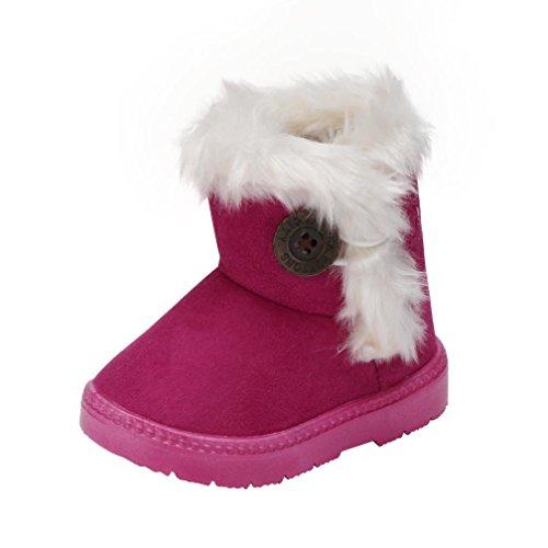 BeautyTop Baby warmer Stiefel, Mädchen Wärme Schlupfstiefel Kinder Gepolsterten Schuhe Baby Halbschaft Boots Gefüttert Winter Stiefel Kleinkind (15/32-36 Monate, Pink)