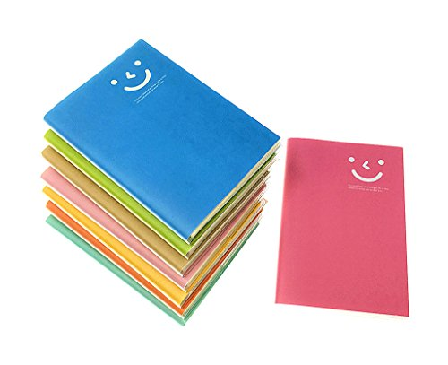 (8pcs Travelers' Notebook,Candy Colors Smiling Face Journal Diary Memo Pad with Matt Plastic Cover(Ruled 60 sheets/pc) )