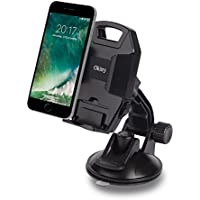 Okitry Car Phone Mount Holder for Windshield and Dashboard Adjustable Viewing Angle with One-button Release for iPhone 7s 6s Plus 6s 5s 5c Samsung Galaxy S8 Edge S7 S6 Note 5, Black