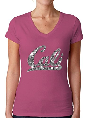 Womens V-neck California T-shirt (Awkward Styles Women's Cali V-Neck T Shirts for Women California Diamond Cali Life Cali Diamonds Pink S)