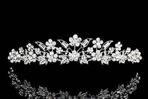- Bridal Floral Rhinestone Crystal Prom Wedding Tiara Crown T975