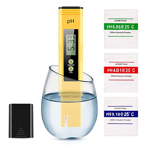 Digital PH Meter, Water Quality Tester 0.01 High Accuracy Quality 0-14 Measurement Range for Household Drinking Water, Swimming Pools, Aquariums, Hydroponics