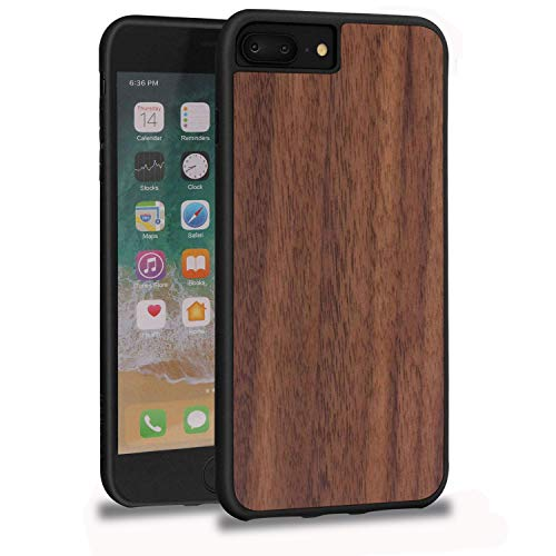 (JUBECO Design for iPhone 8/7/6 Plus Case, Slim Wood Protective Cover Case for iPhone 8/7/6 Plus,Handmade Natural Solid Wood Case, Bamboo Case - Walnut)