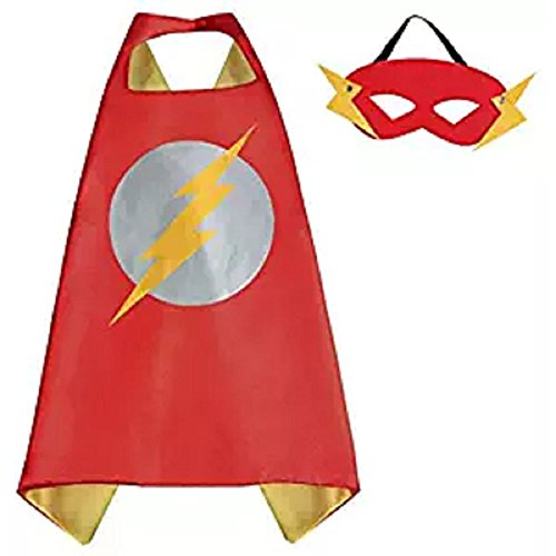 Dress Up Comic Cartoon Superhero Costume with Satin Cape and Matching Felt (Flash Costume For Sale)