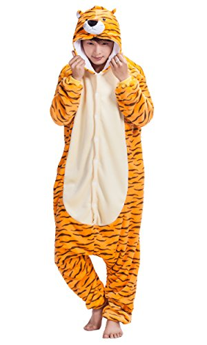 (FunCos Unisex Adult Tiger Costume Cosplay Warm and Cozy Plush Pajamas)