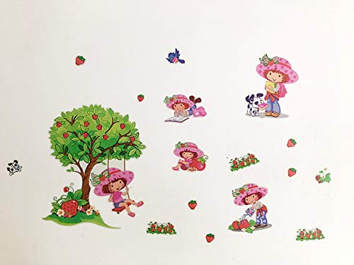 HHXX9 Strawberry Shortcake Girls Tree Wall Stickers for Kids Room Bedroom Room Decorative Wall Decal Stickers Room Decoration DIY