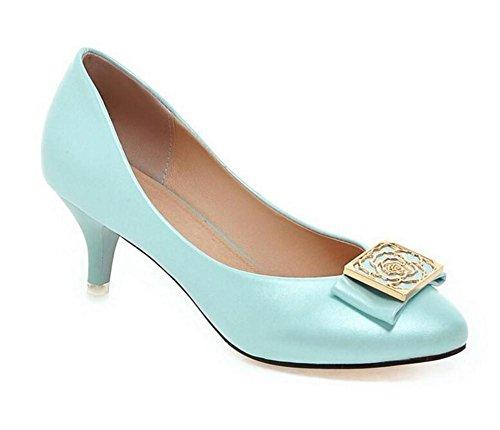 metallo piedi sottile superficiale calza Basso 37 colore a dita 's bocca 39 Shoes BLUE solido in dei tacco Court Women con punta XIE le gold xqZpwzTIW
