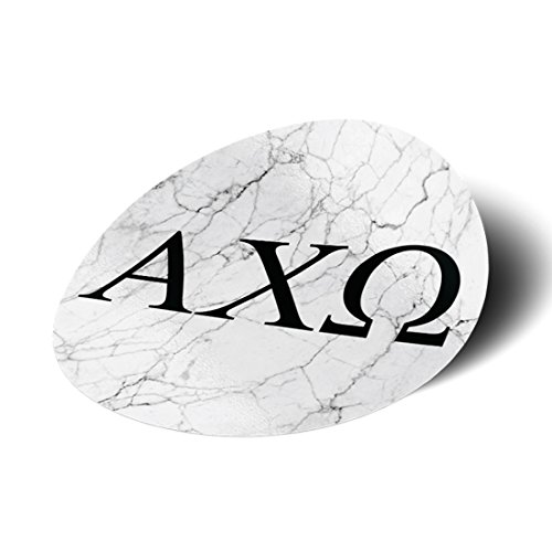 Alpha Chi Omega Sorority Black and White Marble with Letters Sticker Decal 3 Inch Greek for Window Laptop Computer Car AXO