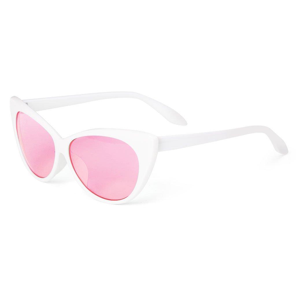 SLYlive Gafas de Sol Cat Eye para Mujer, Marco Blanco ...