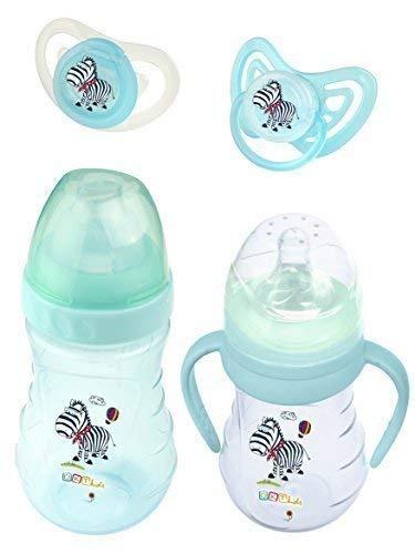 4er Set: 2X Botella de Bebé + 2X Chupete Hippo Azul: Amazon ...