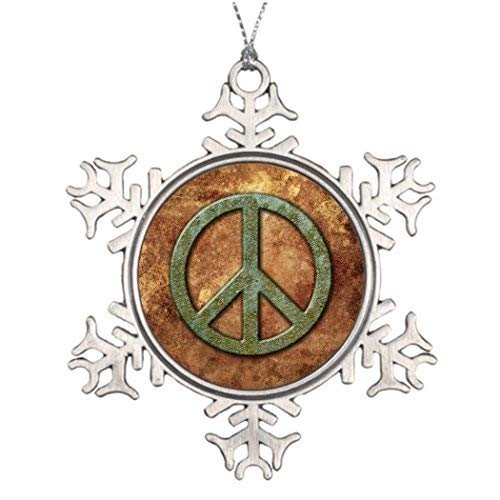 EvelynDavid Snowflake Ornament Peace Tree Branch Decoration Peace On Earth Xmas Tree Decorating Ideas Symbol Peace Sign -