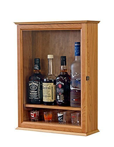 Locking Liquor Wall Cabinet Cherry Hardwood *Made In The USA