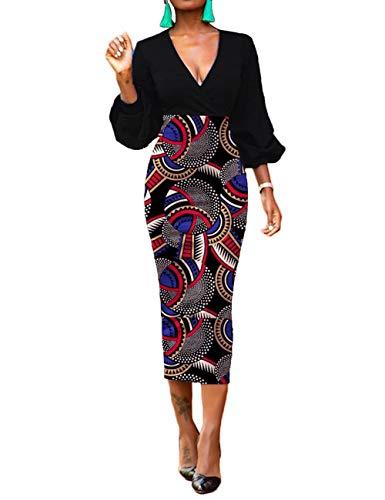Patchwork Print Skirt - EverChic Women's Sexy V-Neck Long Sleeve Tunic Long Skirt Dress Casual Slim Fit Mid-Calf Dress