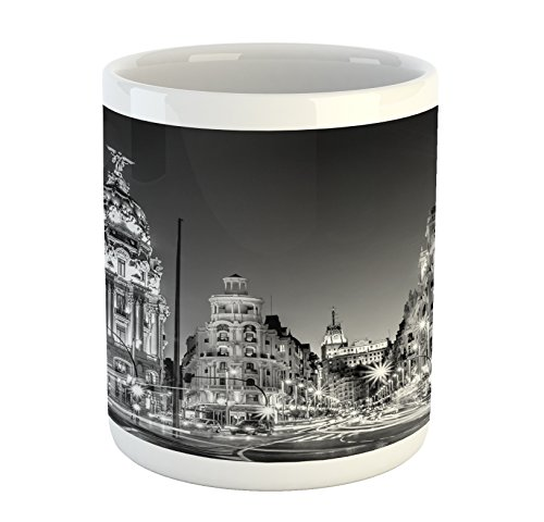 Ambesonne Black White Mug, Madrid City at Nighttime in Spain Main Street Ancient Architecture, Printed Ceramic Coffee Mug Water Tea Drinks Cup, Black White Grey by Ambesonne