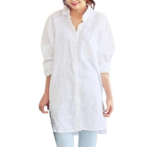 FEITONG Casual Womens Long Sleeve Loose T-Shirt Oversized Cotton Linen Tops Blouse Outwear(S,White) ()
