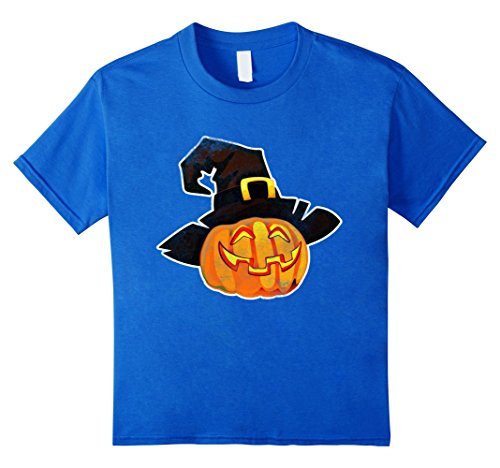 Hilarious Homemade Halloween Costumes (Kids Funny Halloween Costumes Tee Shirt Funny Pumpkin With Hat 8 Royal Blue)