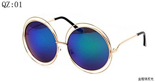 2017 Vintage Round Big Size Oversized lens Mirror Brand Designer, Golden frame green reflective Sunglasses UV400 Women Sun Glasses - Ray Floral Sunglasses Ban