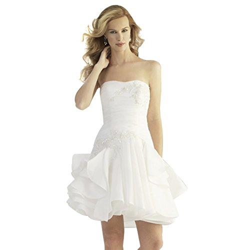 Schatz Weiß Perlen Brautkleider GEORGE Applikationen Hochzeitskleider mit Kurze BRIDE x8xSn7