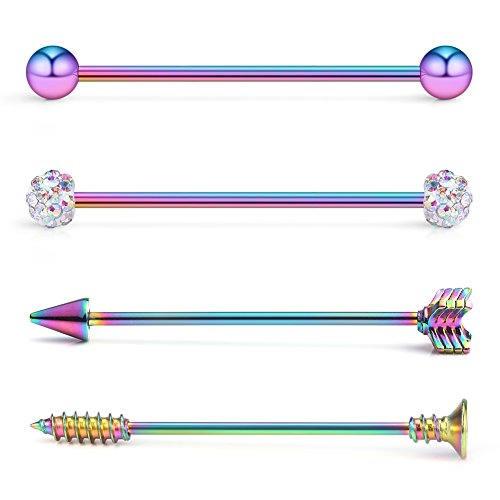 Ruifan 4PCS 14 Gauge Ball Arrow Screw Crystal Ball Industrial Barbell Cartilage Earring Body Piercing Jewelry 1 1/2Inch (38mm) - Rainbow Piercing Barbell