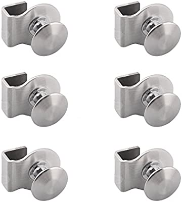 Pomo de acero inoxidable para puerta de cristal, para baño, oficina, puerta de cristal, 6 unidades