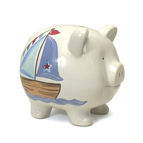UPC 025094368249, Child to Cherish Piggy Bank, Nautical, Large