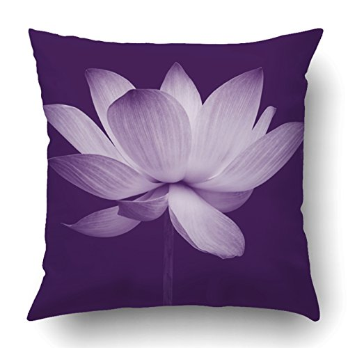 (Emvency Decorative Throw Pillow Cover Case for Bedroom Couch Sofa Home Decor Abstract of Lotus Square 20x20 Inches Purple Flowers)